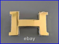Hermes B Huge Shiny Plated Gold Belt Buckle CONSTANCE H 42 mm, New with Pouch