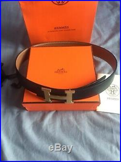 Hermes Cracked Beige Leather Reversible Mens Leather Belt with Gold Buckle 34