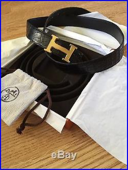 Hermes Crocodile Belt With Guilloché Buckle Size 100
