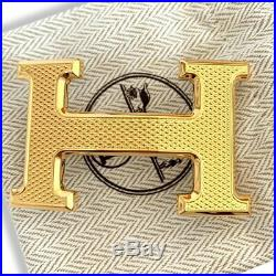 Hermes Plated Gold Guillochee Buckle H 32mm, New in Pochette and White Box