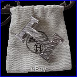 Hermes Plated Silver Guillochee Buckle H 32mm