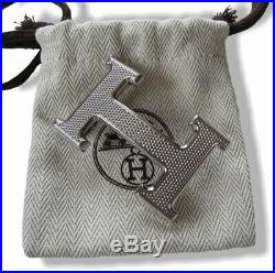 Hermes Plated Silver Guillochee Buckle H 32mm, New