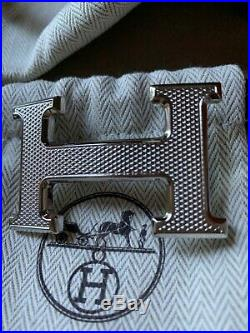 Hermes Reversible Togo H Guilloche silver Buckle Leather black/gold belt 105 NWT