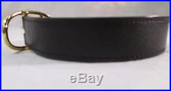 Hermes Unisex Black/Brown Reversible Leather Belt with Gold Buckle Size 95 New