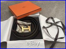Hermes belt kit with textured gold H buckle size 85cm Grey/Black reversible