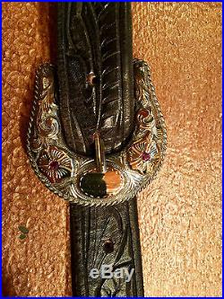 Hollands Belt Buckle (#305) Sterling And Gold W Rubies 4 Pcs