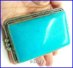 Huge Turquoise Rectangle Sterling Silver 925 Belt Buckle 255g ACE324