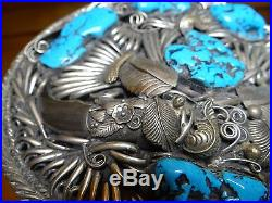 Huge Vintage Silver & Turquoise Navajo Style Men's Belt Buckle