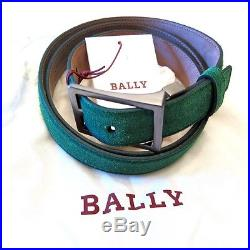 J-1718968 New Bally Green Grass Suede Silver Buckle Belt Size 44/110 Fits 42