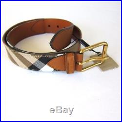 J-2439126 New Burberry Tan Blue Plaid Leather Gold Buckle Belt Size 32 Fits 30