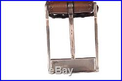 KITON Brown Hand-Stitched Leather Sterling Silver Buckle Dress Belt NEW With Box