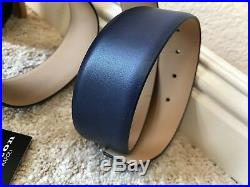 Kiton Belt Blue Leather Lamb Skin Leather Solid Brass Buckle Very Nice Size 90
