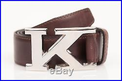 Kiton Brown Leather K Buckle Belt US 38 IT 100 CM NEW 1,500$