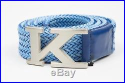 Kiton Napoli Light Blue Braided Leather K Buckle Men's Belt Made in Italy 95