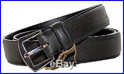 LORO PIANA Leather Belt with Silver Buckle, Black 95 (MEDIUM/LARGE) ITALY $595