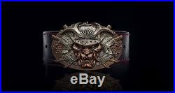 Leather belt with custom buckle ronin red bronze silver handmade