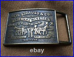 Levis Cast Belt Buckle Levi Strauss USA Two Horse. Reads Patented May 20 1873