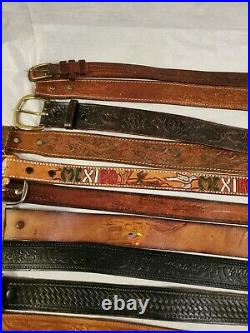 Lot Of 21 Leather Western Braided Fashion Belts Vintage & Contemporary
