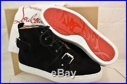 Louboutin Nono Strap Flat Black Suede Belted Buckle Logo Hi Top Sneakers 46 13