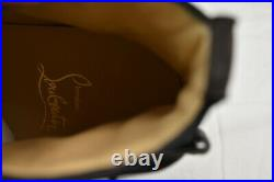 Louboutin Nono Strap Flat Brown Suede Belted Buckle Logo Hi Top Sneakers 42 9