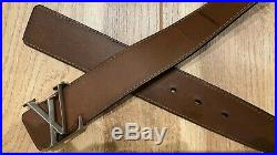 Louis Vuitton Black & Brown Reversible Leather Belt with LV Initials Buckle Mens