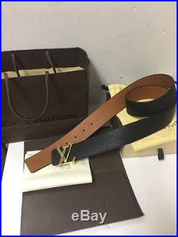 Louis Vuitton Reversible Belt With Gold Buckle With Original Receipt And Box 38