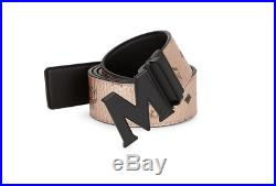 MCM Champagne Gold And Black Claus Reversible M Buckle Belt