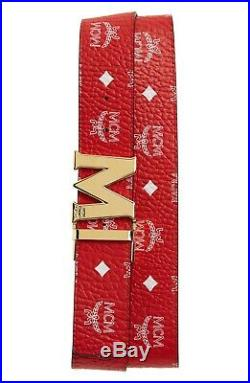 MCM Claus Viva Red White Logo Gold Buckle Reversible M Buckle 1.75 Belt