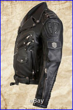 MEN GENUINE TOP COW LEATHER MOTORCYCLE BIKER JACKET BLACK, All Sizes Available