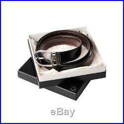 MONT BLANC 38157 Men's Natural Cowhide Leather Reversible Belt Black & Brown New