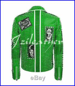 Men PHILIPP PLEIN Leather Coat Green Color Studded Embroidery Patches Jacket