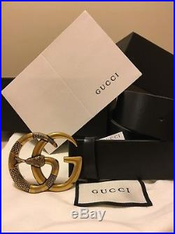 Men's Authentic Gucci Black Leather Belt with Gold GG Snake Buckle 100/40 34-36
