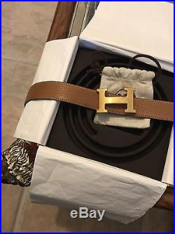 Men's Authentic Hermes Belt Tan/Black With Gold Buckle (Receipt Also Provided)