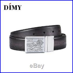Men's Berluti Style Patina High Quality Genuine Leather Belt Engraved Buckle