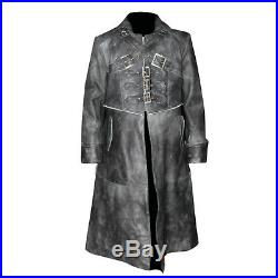 Men's Black Ven Helsing Goth Steampunk Genuine Real Leather Gothic Trench Coat