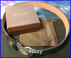 Men's Gucci Tiger Logo Buckle Leather Belt Size 44/110