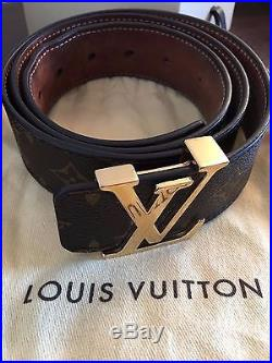 Men's Louis Vuitton Belt Brown Monogram/ Gold Buckle (With Dust Bag/Packaging)