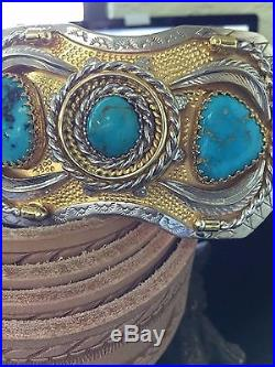 Mens Belt Buckles, Sterling Silver, 14K Gold Plated, Turquoise, Handmade