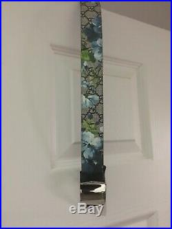 Mens Floral Silver Buckle Engraved Belt By Gucci Brand New