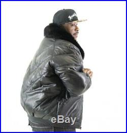 Mens Genuine Leather V Bomber Jacket Fox Fur Collar Lambskin Hip-hop L To 6xl