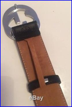 Mens Gucci Belt with Double G Buckle Silver Chrome Black Leather GG Imprint