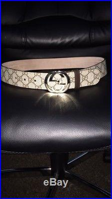 Mens Gucci Classic GG buckle leather belt