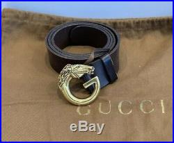 Mens Gucci Leather Belt Web Horse Head GG Buckle 201785