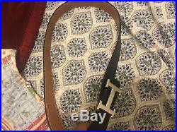 Mens Hermes Belt Black/beige Reversible Leather With Silver H Buckle 30-34