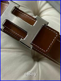 Mens Hermes Cognac Brown Leather Belt with Brushed Silver Buckle