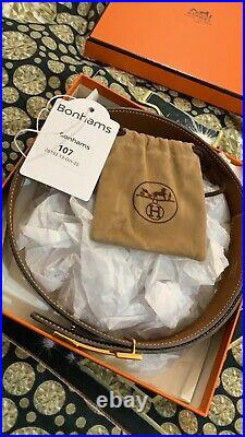 Mens Hermes Gold H belt buckle & Black leather Belt New With Tags In Box