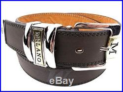 Mens High Quality Black Leather With Silver Buckle Belt Designed By Milano