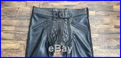 Mens Hot Stylish Quilted Pant Convertible Into Chap BLUF Gay Genuine LEATHER