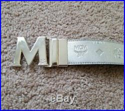 Mens MCM Silver M Buckle Reversible Belt, Silver And Black, One Size