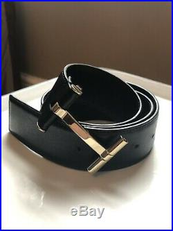 Mens TOM FORD Icon T Belt, Black Leather, Silver Metal Buckle, Waist 28-32